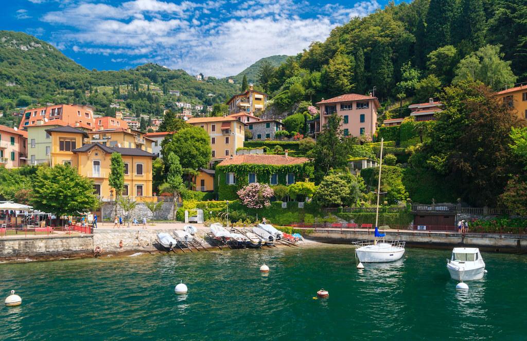 View of Varenna town at lake Como Italy