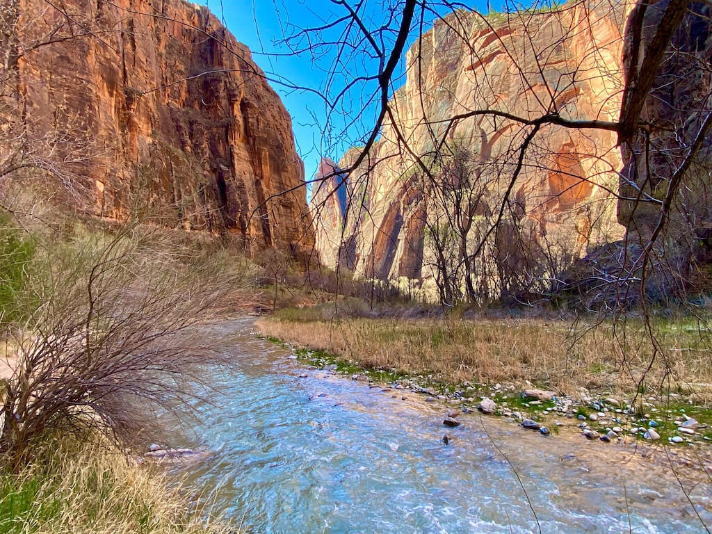 View of river and sandstone cliffs