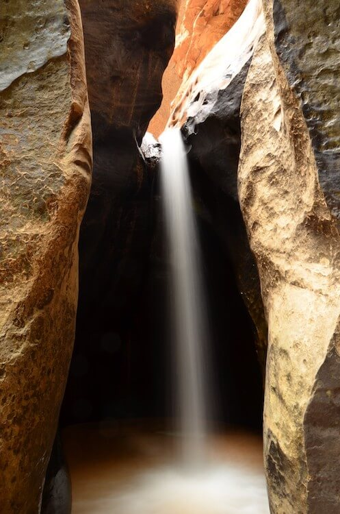 waterfall in a slot canyon