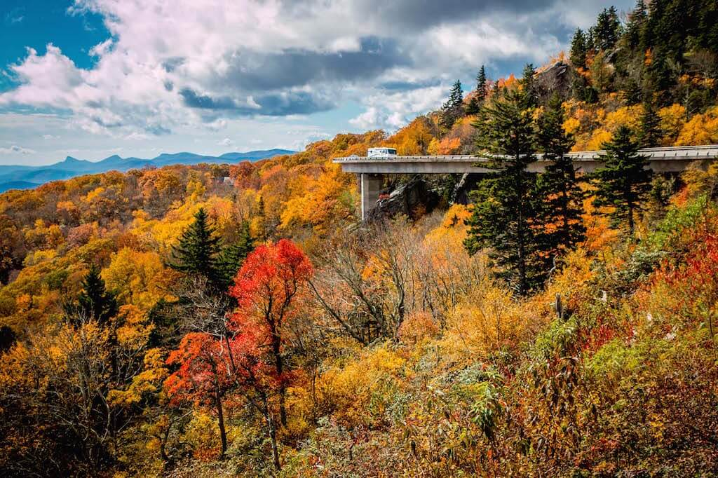 Red and golden trees on Blue Ridge Parkway