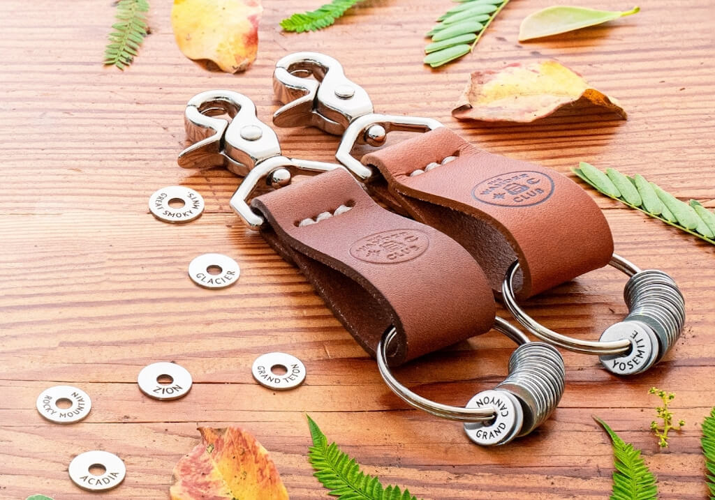 leather key chain with silver tokens