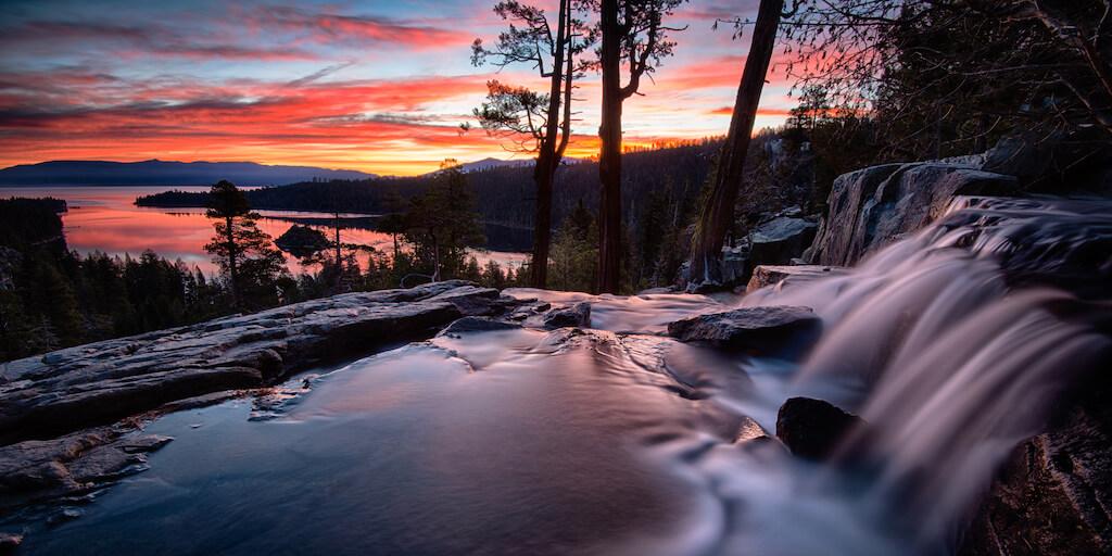 Water falling into a lake, Lake Tahoe, Sierra Nevada, California, USA