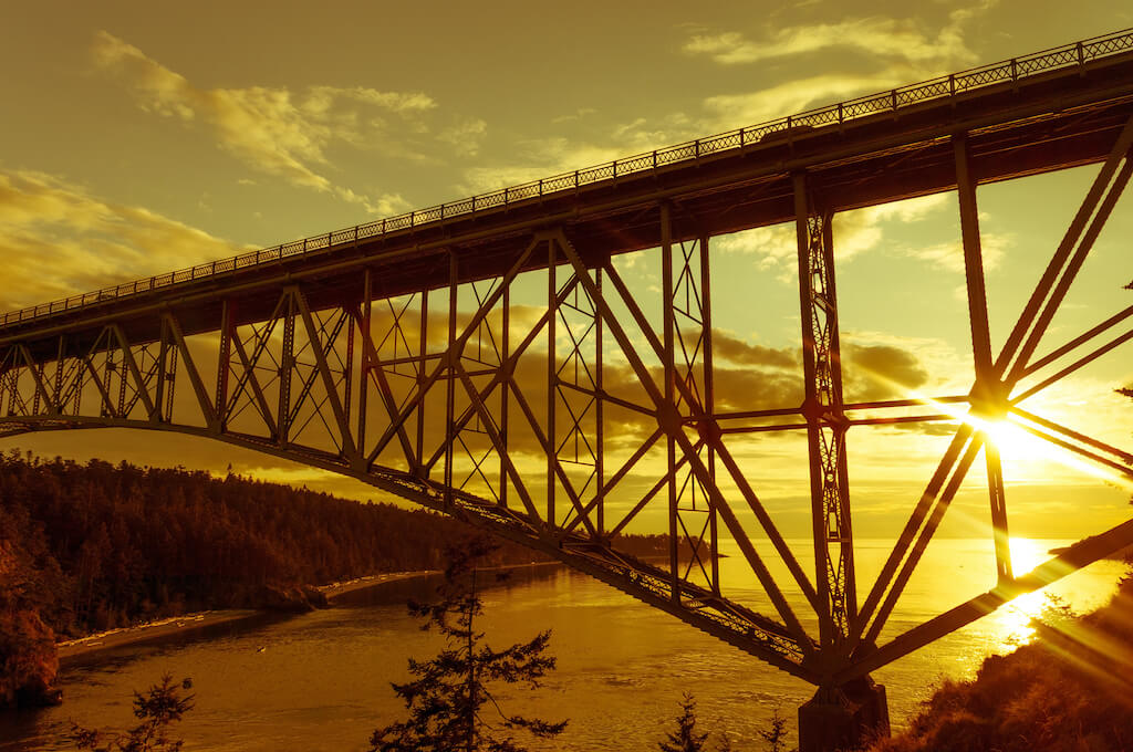 sunset over iconic bridge at Deception Pass