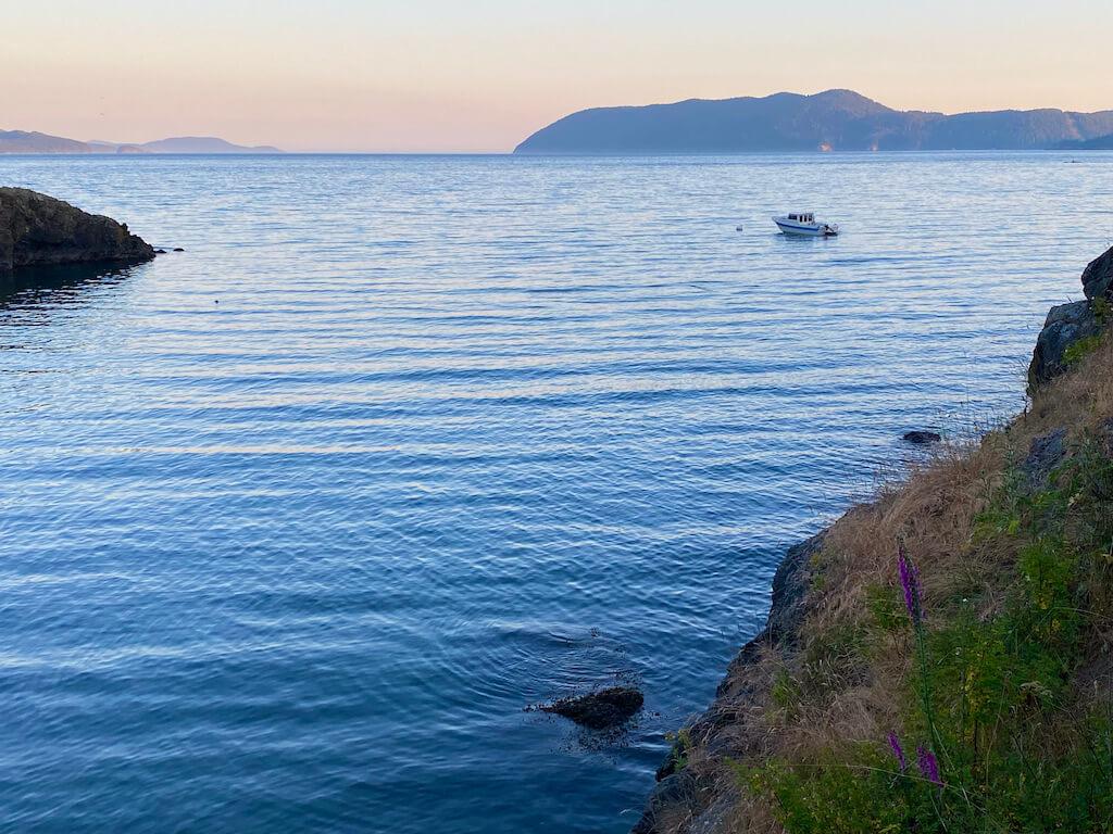 boat at sunset in Deer Harbor