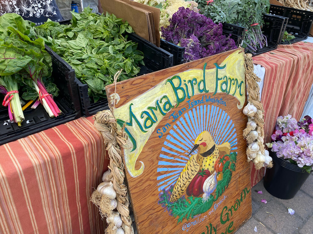 vegetable farm stand at Saturday market
