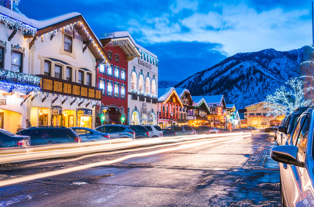 snow draped over colorful buildings in winter