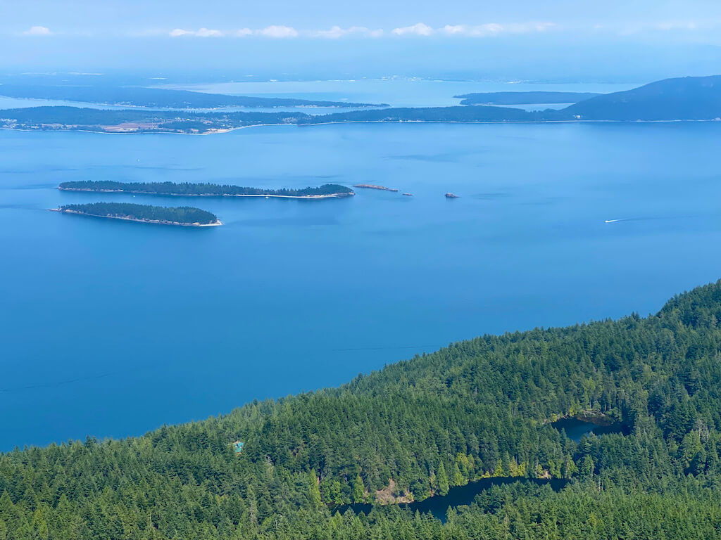View of islands and forested lakes from top of Mount Constitution