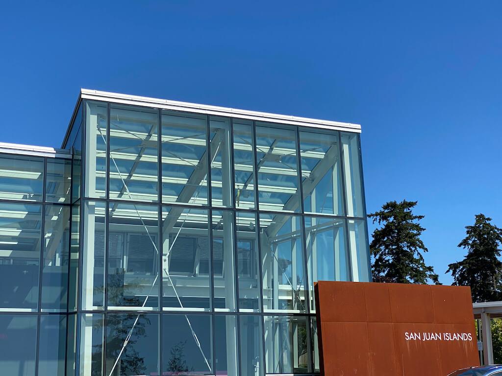glass building, San Juan Island art museum