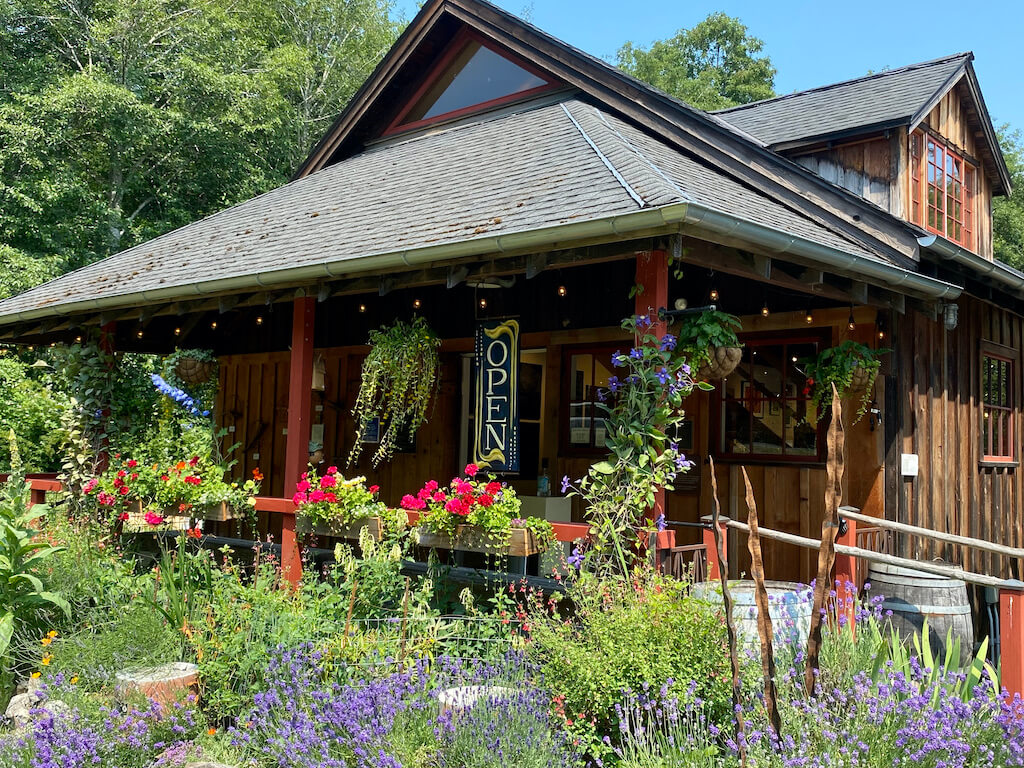 restaurant with flower boxes on Orcas Island