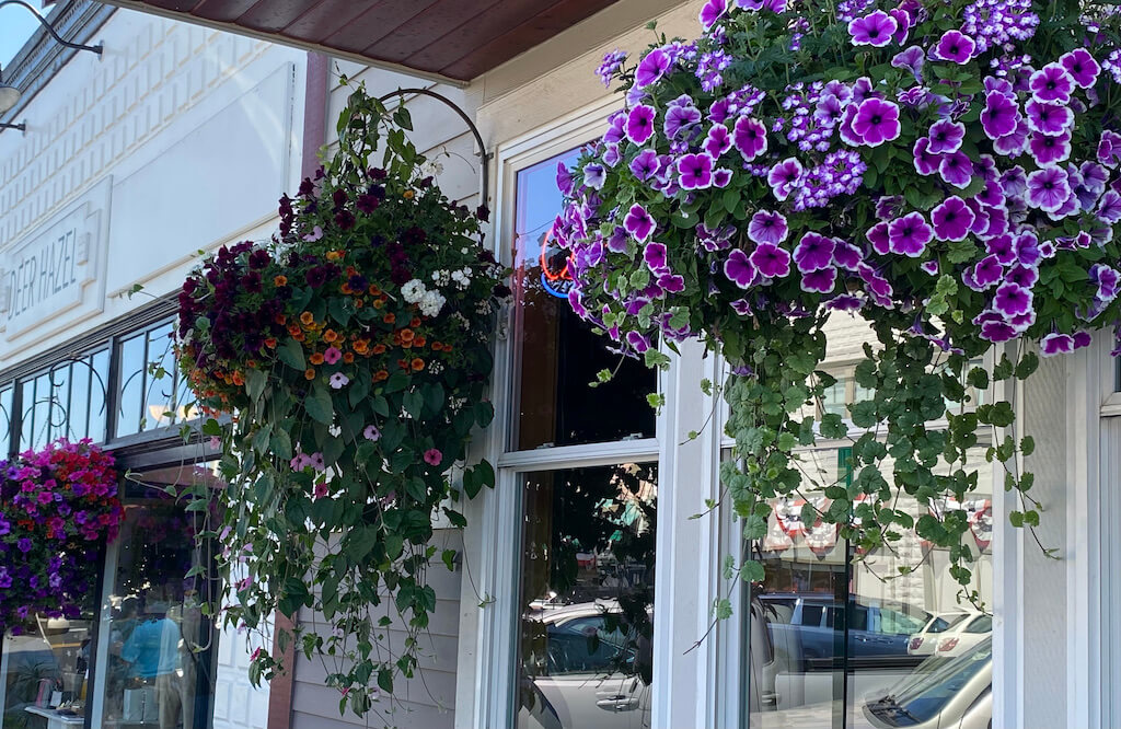 Flower baskets at shop fronts