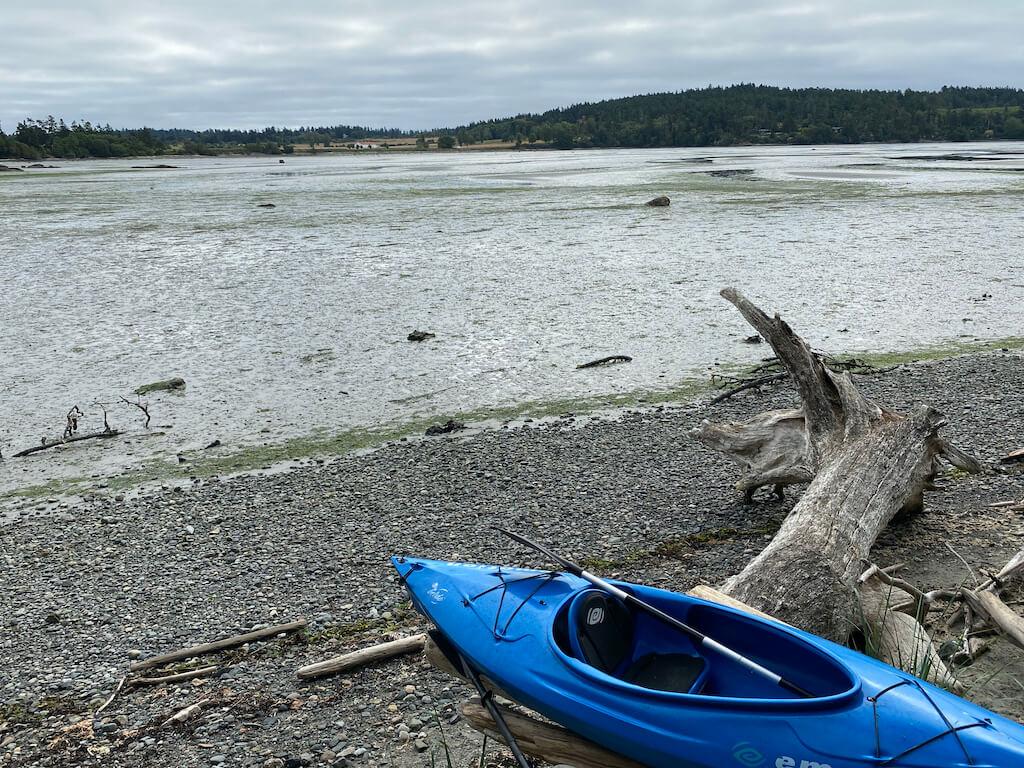 blue kayak at bay at low tide