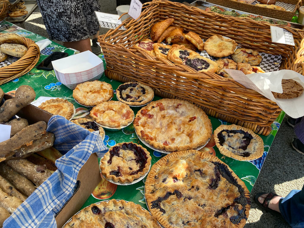 pies and pastries at farmers market