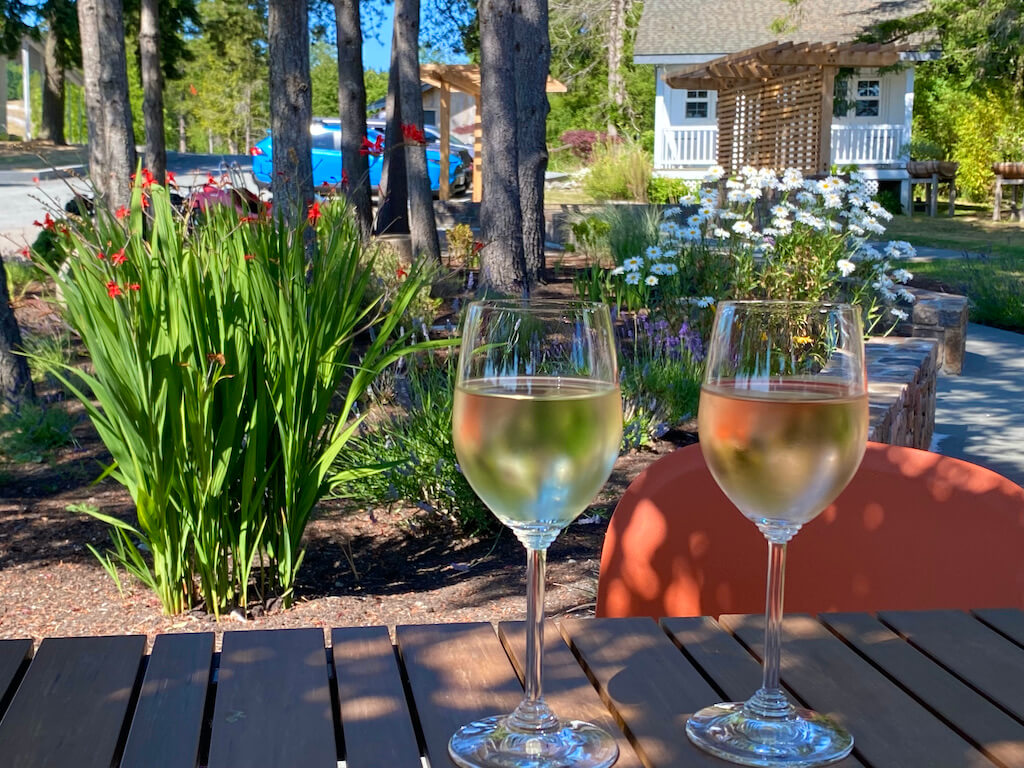 two glasses of white wine on a table outdoors
