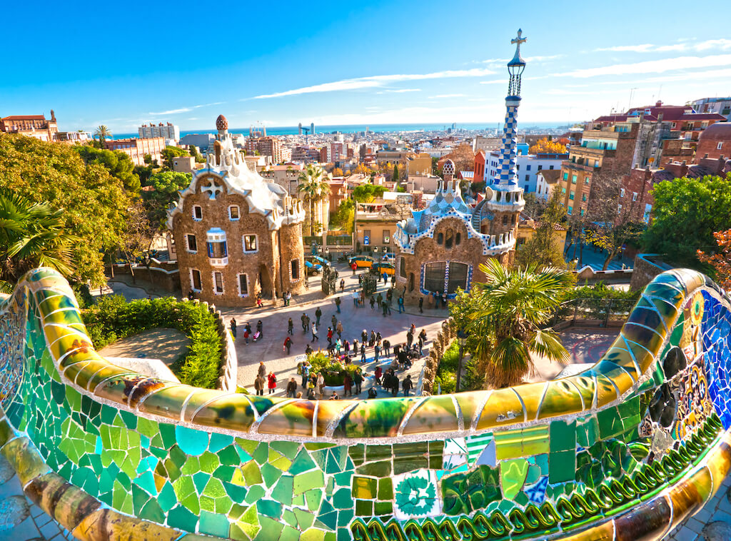 colorful tile wall at Park Guell in Barcelona