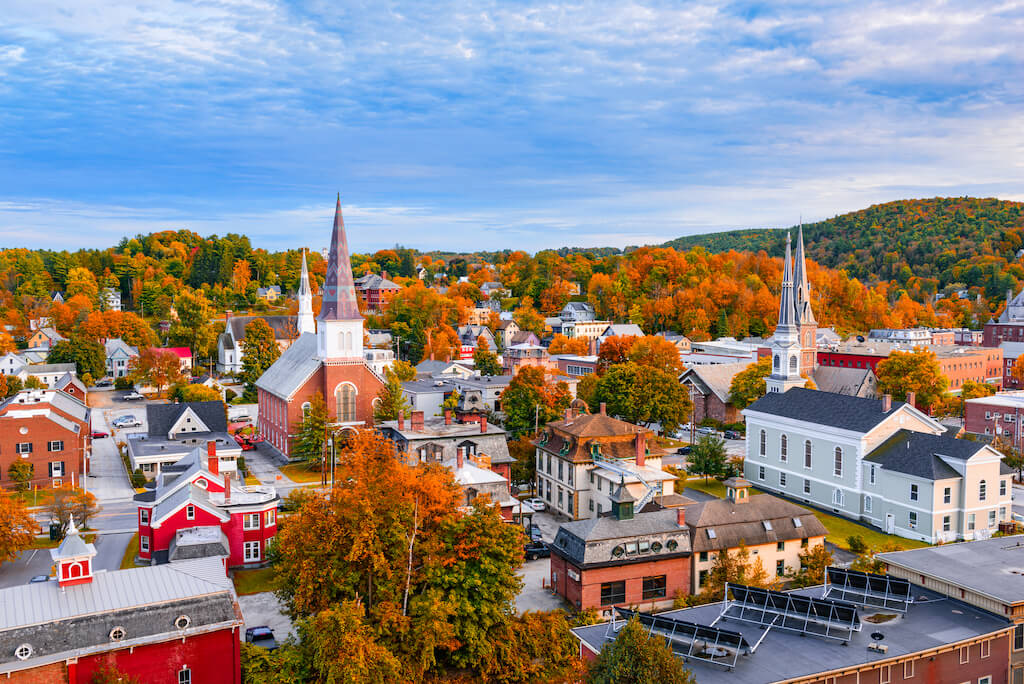 church steeples and bright red foliage in Burlington
