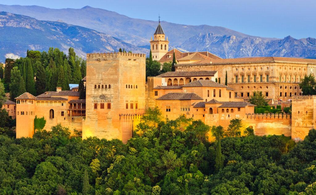 Alhambra palace at night, Granada, Spain