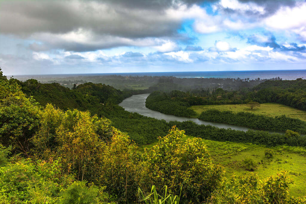 Wailua River moving towards the ocean