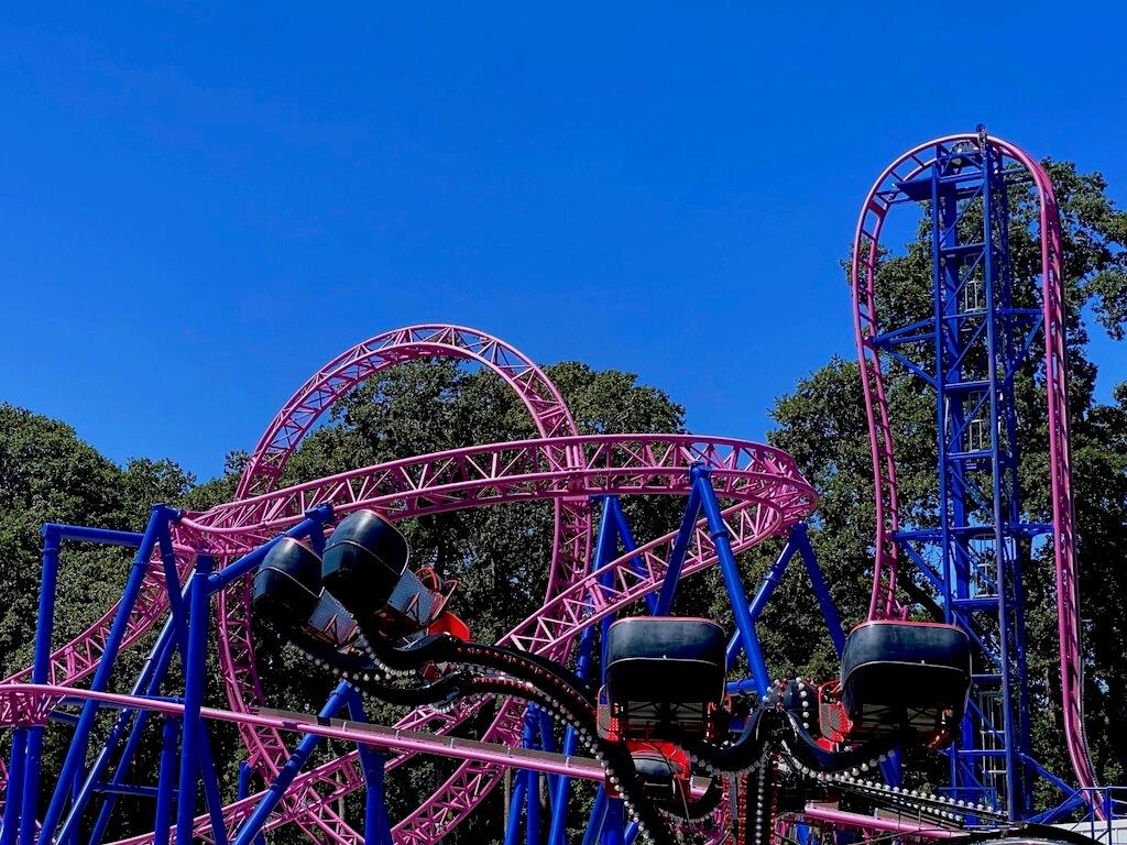 bright pink roller coaster at Oak Park