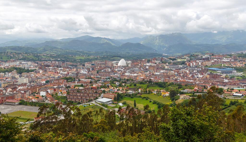 Panoramic view of the city of Oviedo, Asturias, Spain