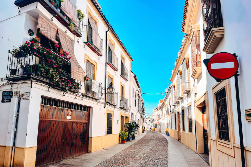 spanish street and colorful buildings
