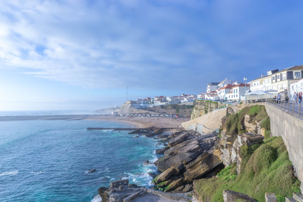 Beach view with white house in Ericeira