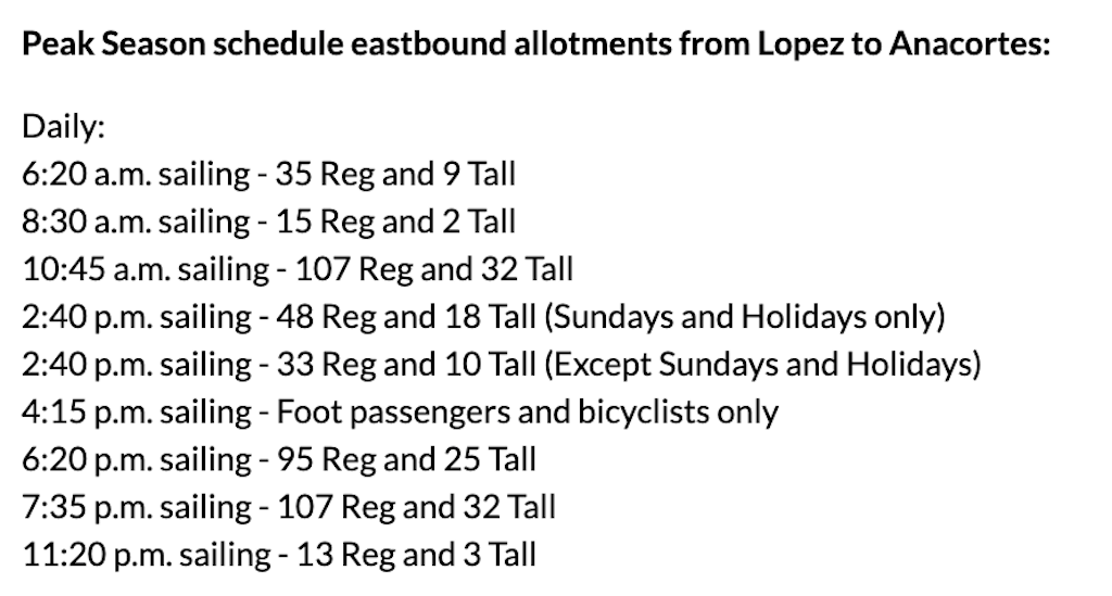 details of ferry capacities, Lopez Island