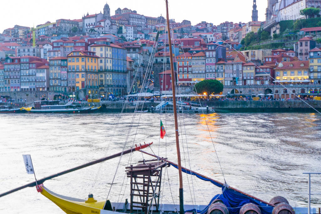Sunset view of Porto on the Douro River