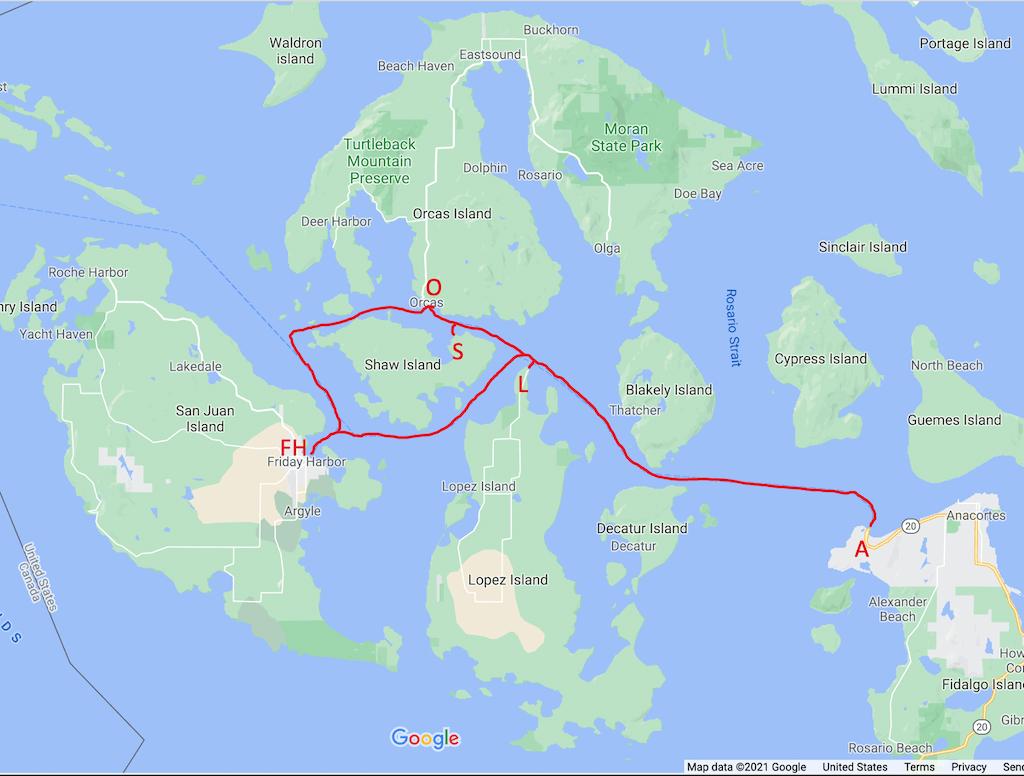 San Juan Island ferry map