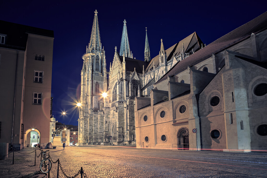 Cathedral view by night in Regensburg, Bavaria, Germany