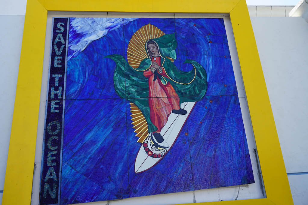 Surfing Madonna painting