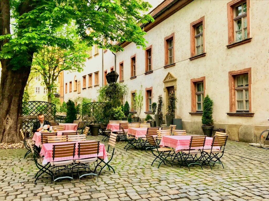 cheerful outdoor biergarten in Regensburg