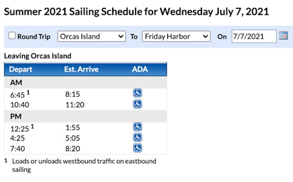 schedule by date details from WSF site