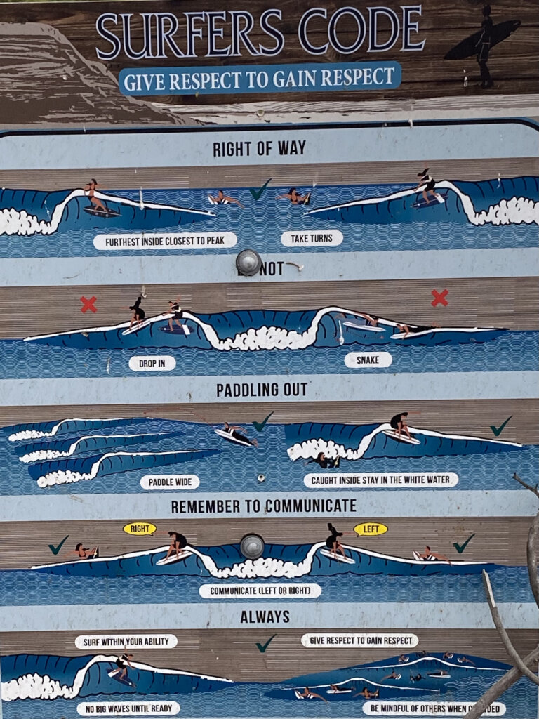 sign with graphics that shows surfer etiquette