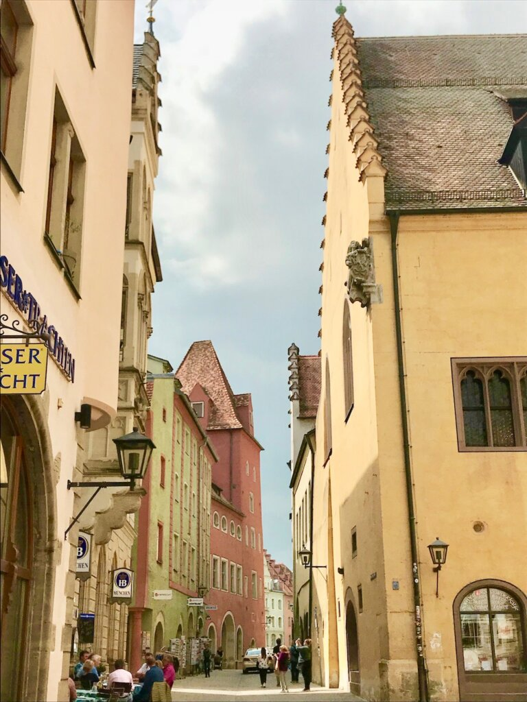 view down a narrow street in Regensburg