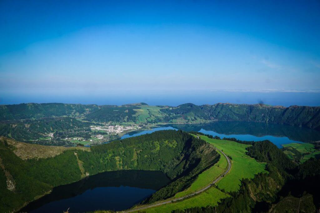 beautiful green Azores islands and blue sky