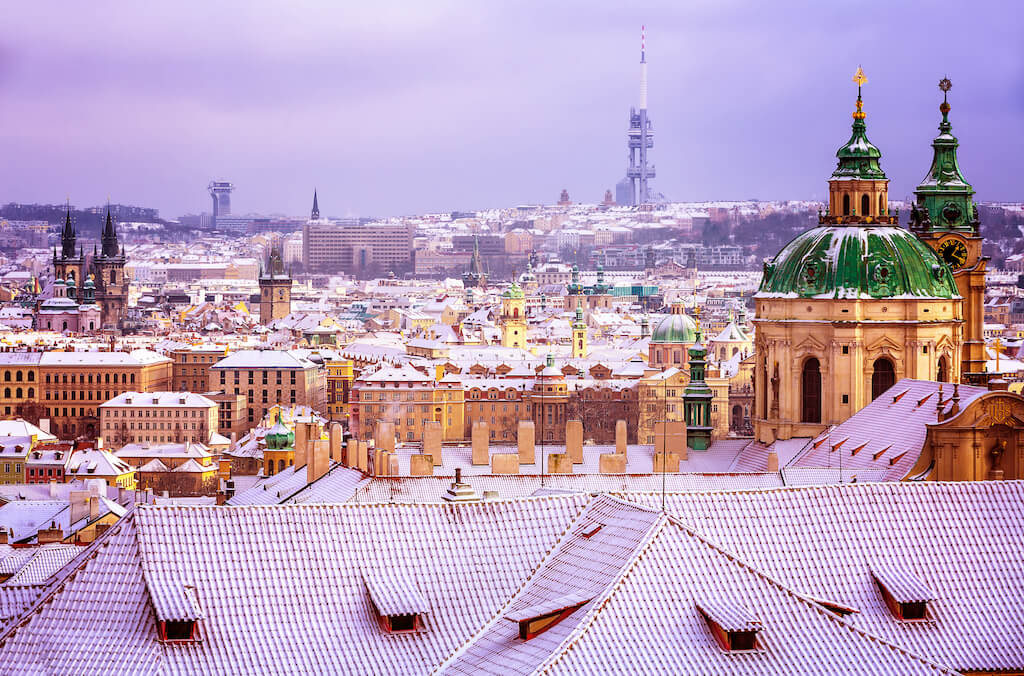 St.Nicholas church in Prague, Czech republic, beautiful architecture in baroque style, wonderful cityscape in the winter, travel to Europe